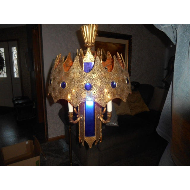 Gothic Style Pierced Metal & Cobalt Hanging Lamp - Image 3 of 6