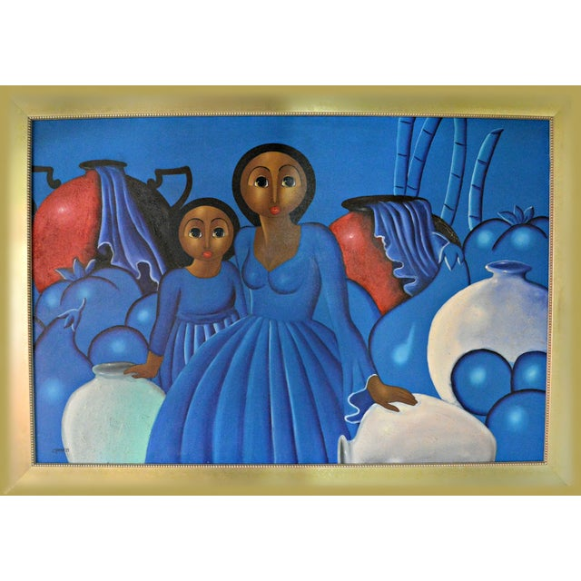 Dominican Woman With Girl Oil Painting - Image 1 of 3