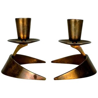Bronze Modernist Candle Holders - A Pair