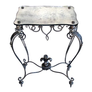 Elegant and Stylish French, 1940s Iron and Tole Side Table by Rene Drouet