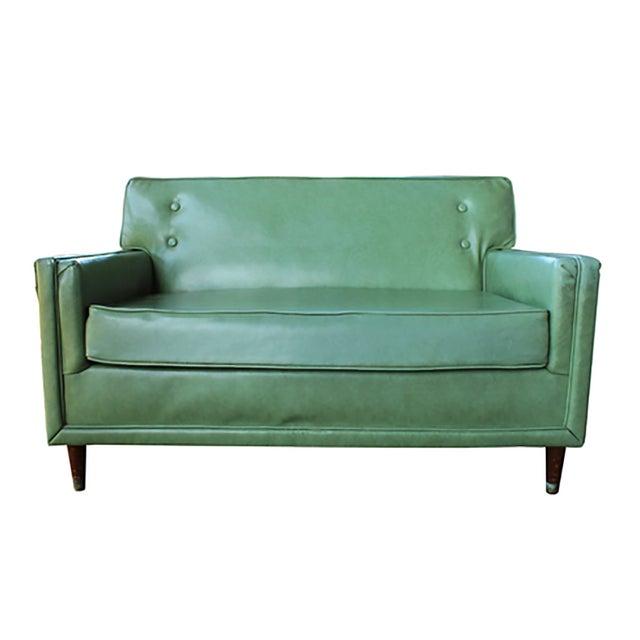 Mid century mint green vinyl sofa chairish for Mint green sectional sofa