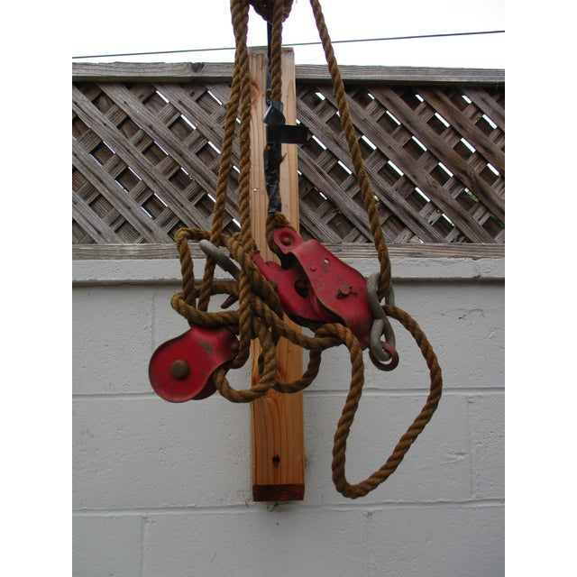 Vintage red pulley nautical barn decor chairish for Decorating with pulleys