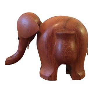Vintage Hand Carved Teak Elephant Tooth Pick Holder