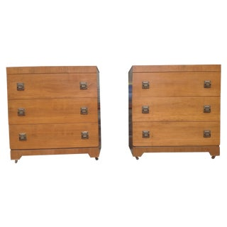 1940s Three Drawer Chest - Pair