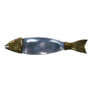 Vintage Brass Aluminum Fish Centerpiece