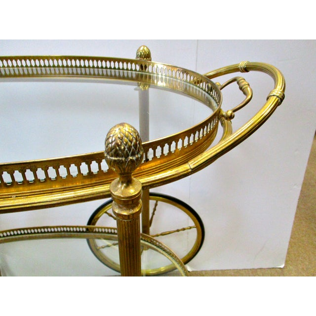 Brass and Glass Rolling Bar Tea Cart - Image 4 of 4