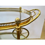 Image of Brass and Glass Rolling Bar Tea Cart