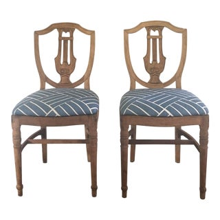 Vintage Stripped American Sheild Back Chairs - A Pair