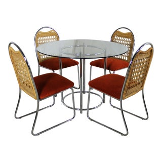 Daystrom Mid-Century Glass & Chrome Table With Chrome & Wicker Chairs - Set of 5