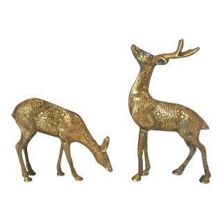 Male & Female Brass Deer Figurines - A Pair