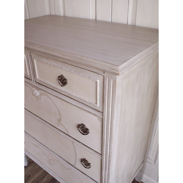 Hand-Painted Vintage Tall Dresser - Image 9 of 10