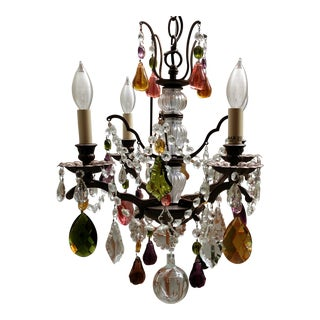Antique Italian or French Crystal 4 Light FRUIT Pear CHANDELIER MURANO GLASS