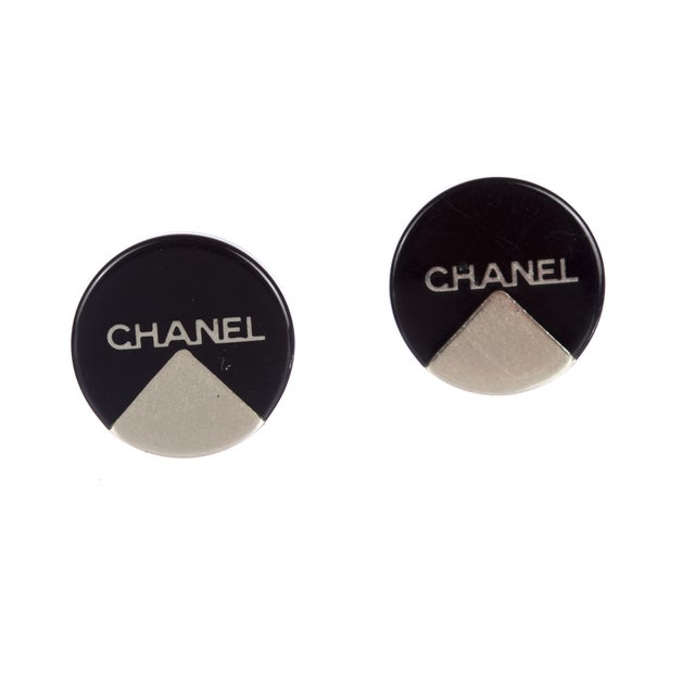 Image of Chanel Black and Silver Button Earrings