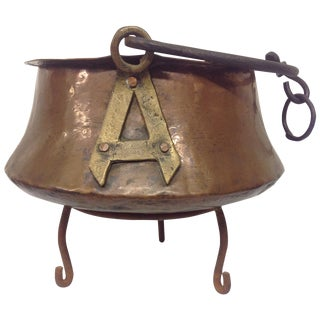 Antique Copper & Iron Cauldron