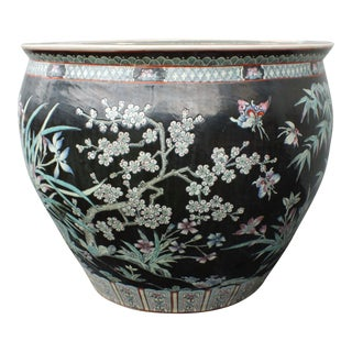 Qianlong Chinese Famille Noir Fish Bowl Planter