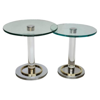 Two Lucite, Brass and Chrome Charles Hollis Jones Occasional Side Tables