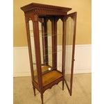 Image of Louis XVI-Style Walnut Vitrine Curio Cabinet