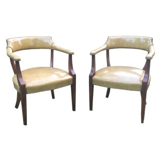 Vintage Hickory Leather Library Chairs - A Pair
