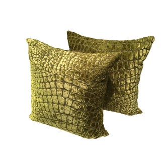 Lime Green Velvet Pillows - A Pair