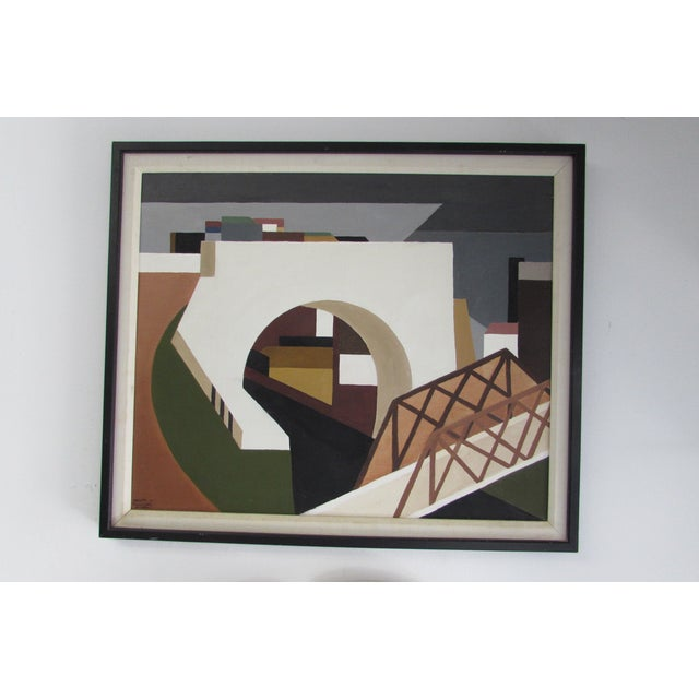 Architectural Mid-Century Painting - Image 2 of 4