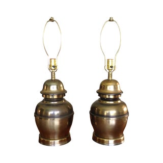 MCM Style Brass Table Lamps - a Pair