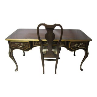 Brown Lacquer Chinoiserie Writing Desk and Chair