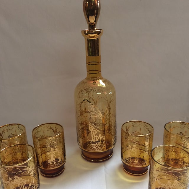 Italian Decanter and Matching Tall Glasses - S/7 - Image 3 of 9