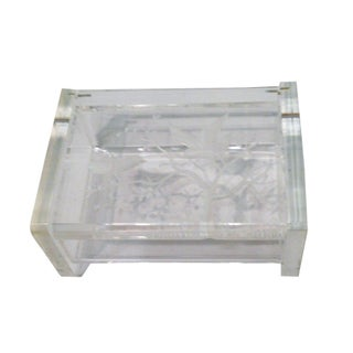 Vintage Lucite Jewelry Box, Etched Bird and Trees