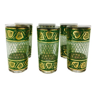 Vintage Green & Gold Cocktail Glasses - Set of 6