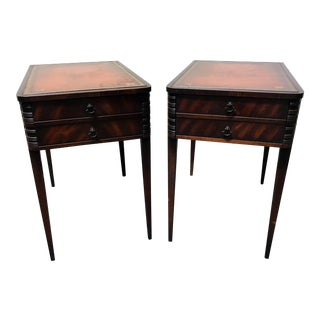 Vintage Leather Top Mahogany End Tables- A Pair