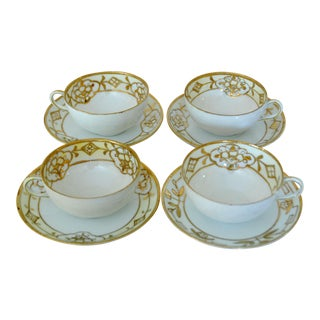 Gold Painted Nippon Tea Cups - Set of 4