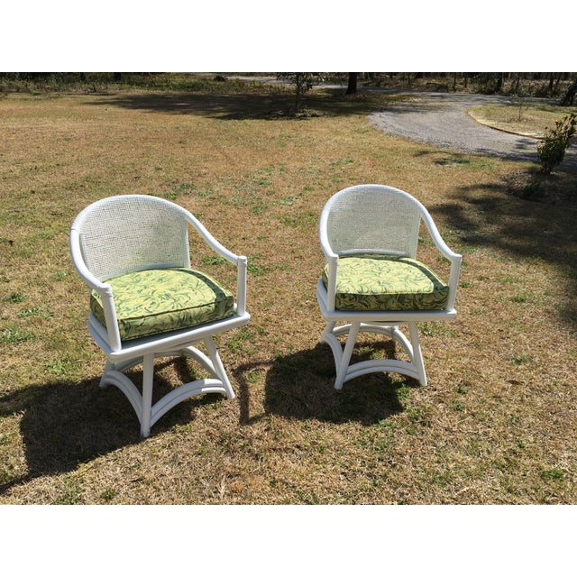 Ficks Reed Cane Swivel Chairs - A Pair - Image 3 of 10