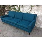 Image of Mid Century Teal Tweed Sofa