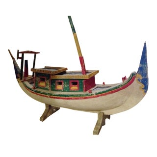 Decorative Vintage Children's Wood Boat with Stand