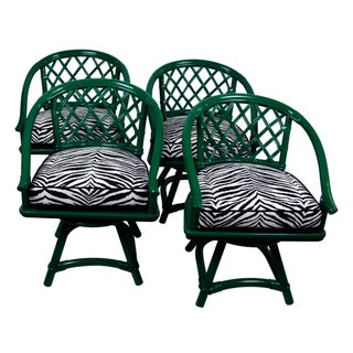 Ficks Reed Trellis Zebra Swivel Chairs - Set of 4