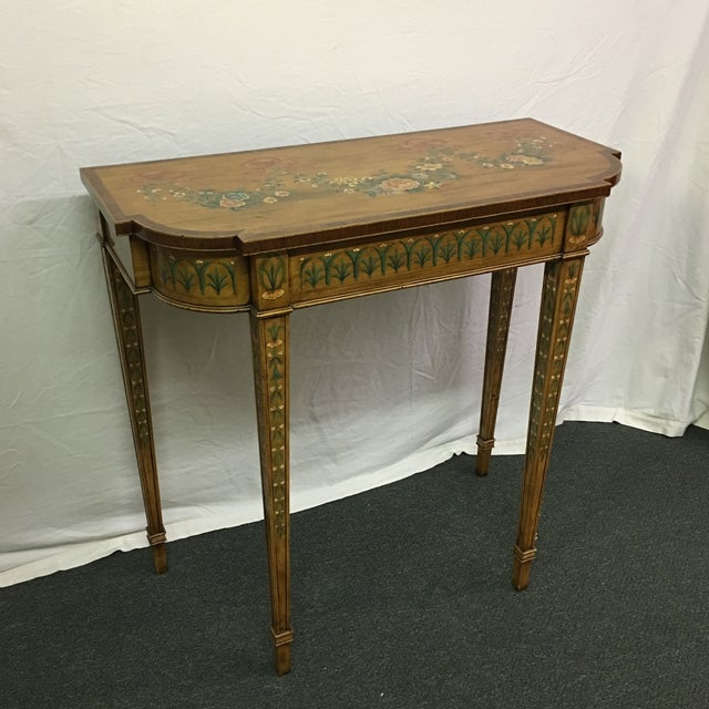 Hand-Painted Floral Console Table - Image 2 of 11