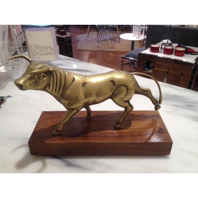 Large Brass Bull on Walnut Base - Image 2 of 3