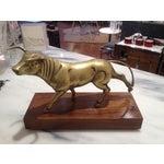 Image of Large Brass Bull on Walnut Base