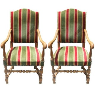 French Louis XIII Style Armchairs - A Pair
