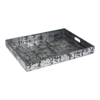Sarried Ltd Grey & Silver Botanical Leather Tray