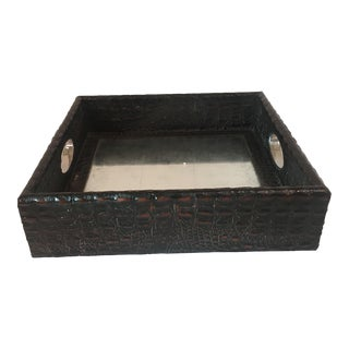 Decorative Embossed Faux Croc Leather Tray