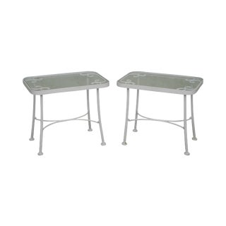 Woodard White Painted Pair of Iron Glass Top Side Tables