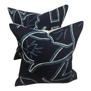 Vintage Asian Tribal Indigo Batik Pillows - Pair