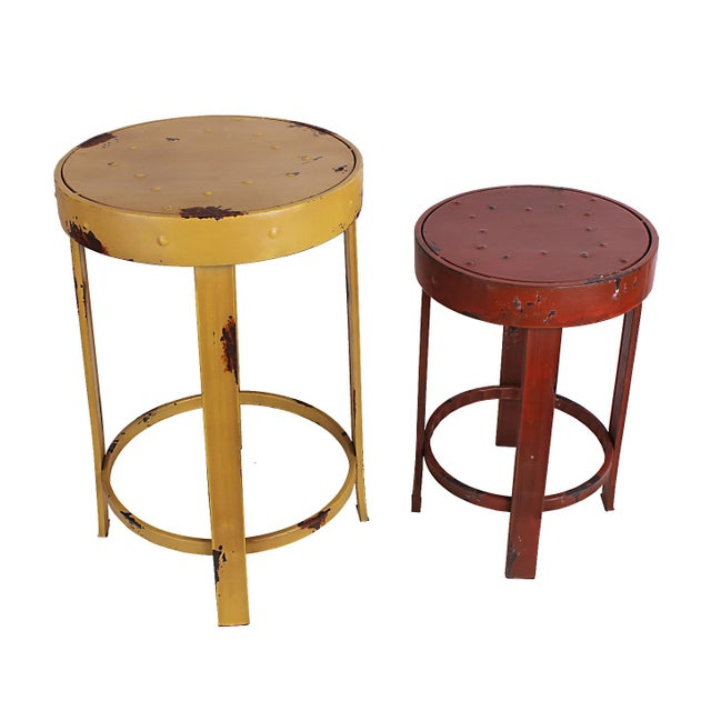 French Bistro Stools - A Pair - Image 1 of 5