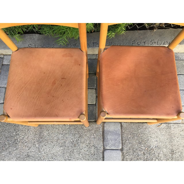 Perriand Style Birch & Leather Chairs - A Pair - Image 4 of 6