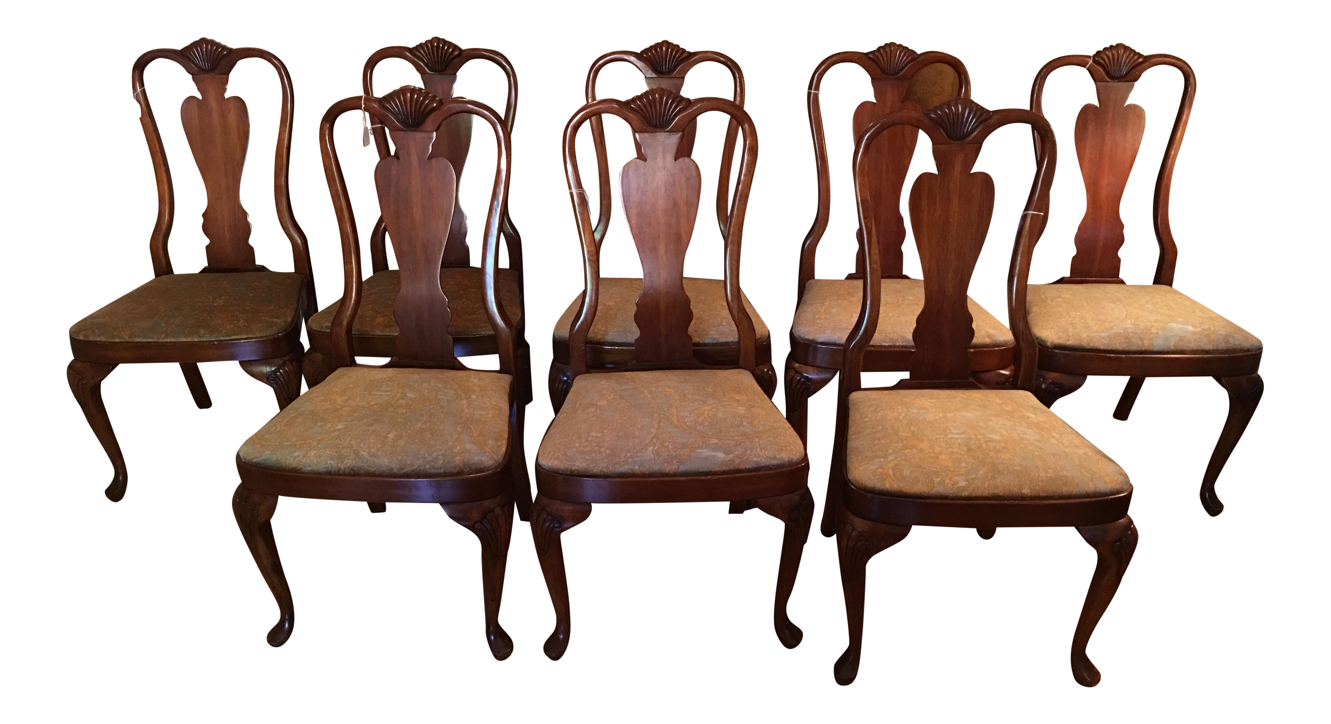 Queen Anne Style Mahogany Dining Chairs   Set Of 8