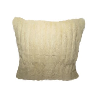 Genuine White Mink Fur Pillow with Grey Cashmere