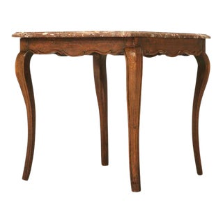 18th Century Antique French Louis XV Marble Top Cherry Side Table
