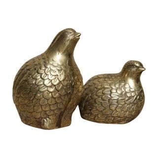 Vintage Brass Partridges, A Pair