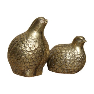 Vintage Brass Partridges, A Pair